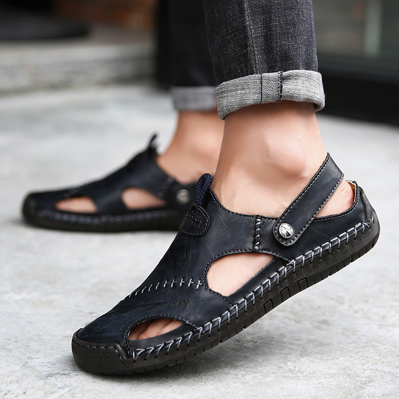 verktaka 2019 Men Slippers Summer Casual Leather Flat Shoes