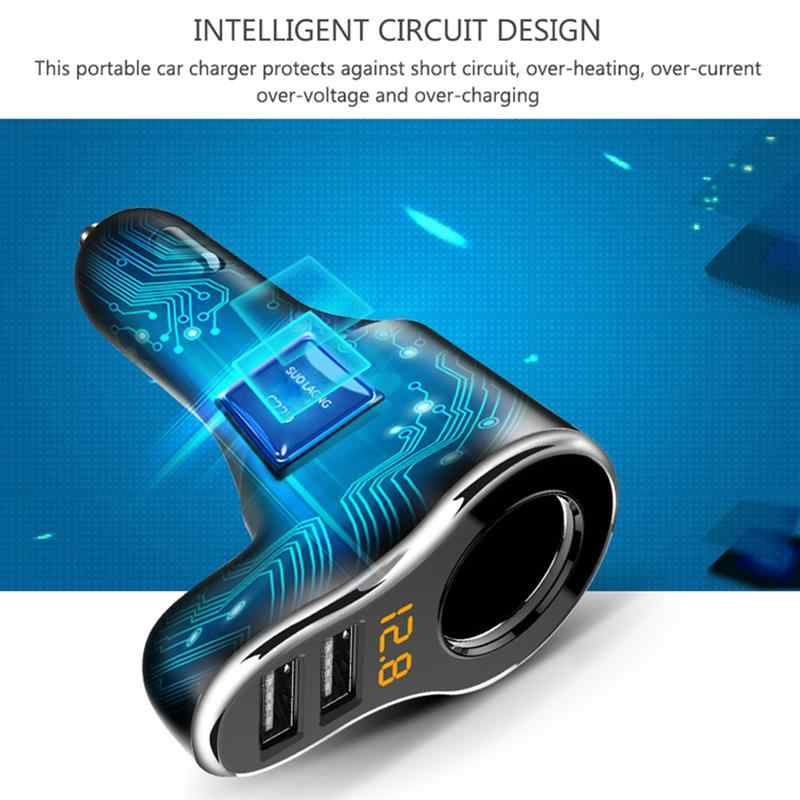 DC 12-24V Car Cigarette Lighter Socket Support Fast Charge 3.1A Dual USB Car Charger Adapter With Volmeter