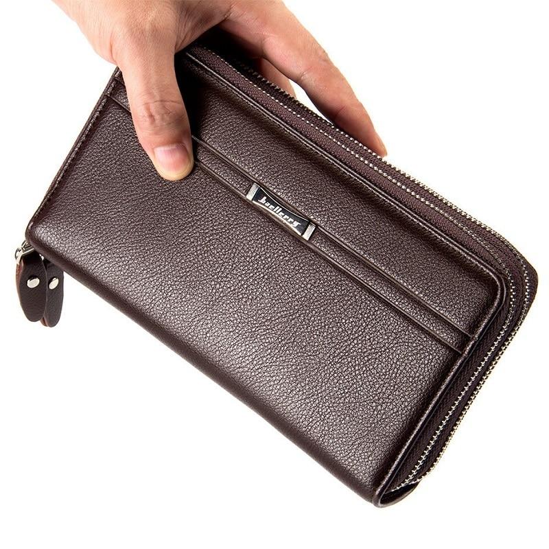 687a01eb4273 Double Zipper Long Purse Men Wallet Business Male Coin Purse Large Card  Holder Wallets Man Passport Phone Pocket Document Case