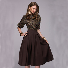 S-2XL Women Dress autumn spring New Style midi two piece set floral print work office formal dress