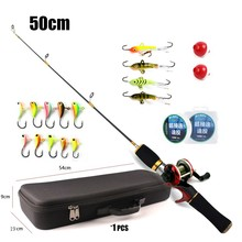 ultimate Ice Fishing Rod and reel combo winter fishing set with jigs balancers monofilament line EVA case outdoor fishing combo