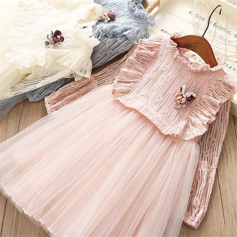spring girl lace dress ruffles fashion girl ball gown dress long sleeve party princess kids dresses for girl's clothing