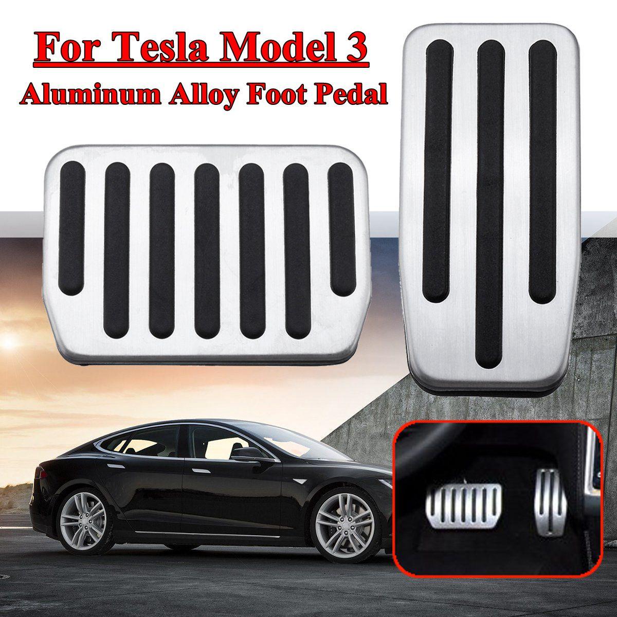 2 piezas rendimiento antideslizante de aleación de aluminio acelerador pie resto Pedal modificado Pedal de Kit para Tesla modelo 3 de freno reemplazo
