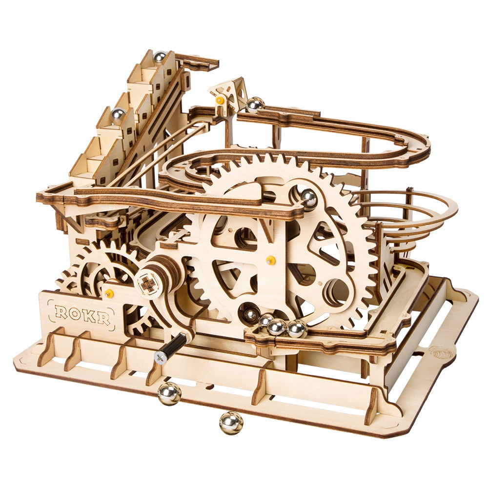 Robotime Funny Marble Run Game Diy Waterwheel Coaster Wooden Model Building Kits Assembly Toy Best Christmas,Birthday Gift