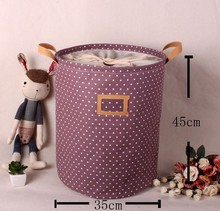 цены zakka Storage basket pastoral dot beam port Pink Brown Green Purple four color options / canvas laundry basket