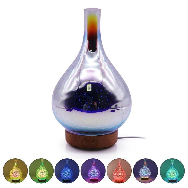 3D Feux D'artifice LED Lumière de Nuit Humidificateur D'air En Verre Vase Forme Aroma Huile Essentielle Diffuseur Mist Maker Humidificateur À Ultrasons