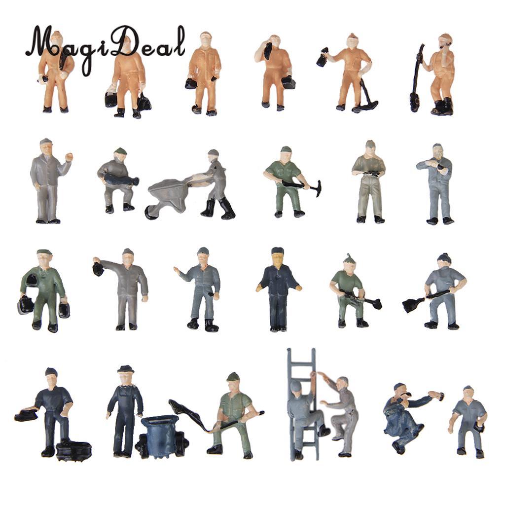 25 pçs/lote 187 escala pintado mix modelo estação ferroviária plataforma trabalhador pessoas figuras com escada balde layout cena brinquedos