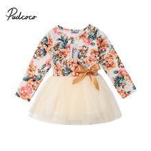 цена на Flower Newborn Dress Cute Baby Kids Baby Girl Long Sleeve Lace Dress Party Pageant Princess Dresses