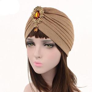 Image 3 - Kobiety indiański kapelusz muzułmański rozciągliwy czepek dla osób po chemioterapii moda chusta na głowę czapka Turban damski kapelusz Islam plisowany Rhinestone Bonnet utrata włosów