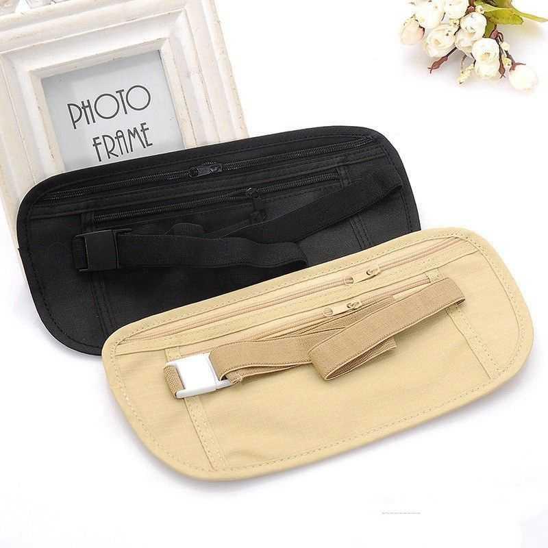Pacotes de cintura de viagem invisível quente bolsa de cintura para passaporte dinheiro cinto saco escondido segurança carteira presentes
