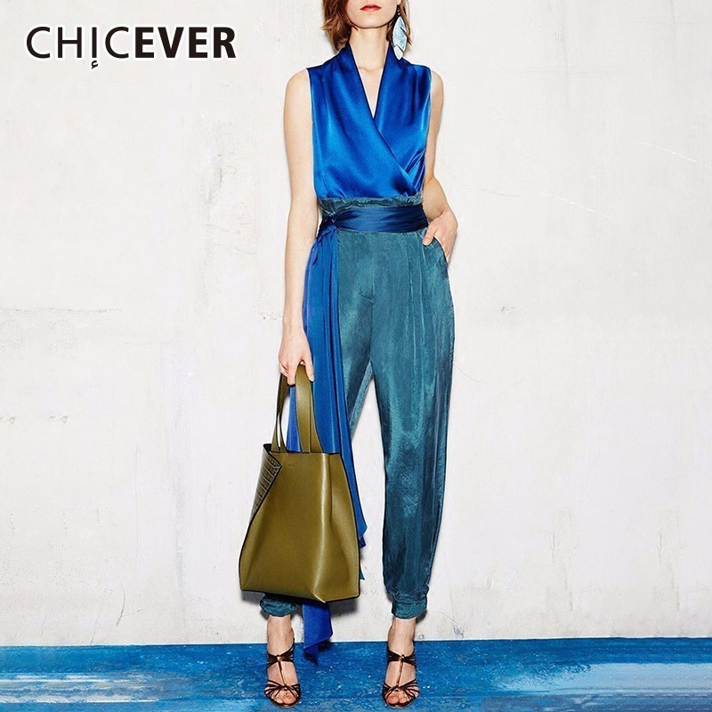 CHICEVER Women s Suits Two Piece Set V Neck Sleeveless Slim Tops Female Lace Up High