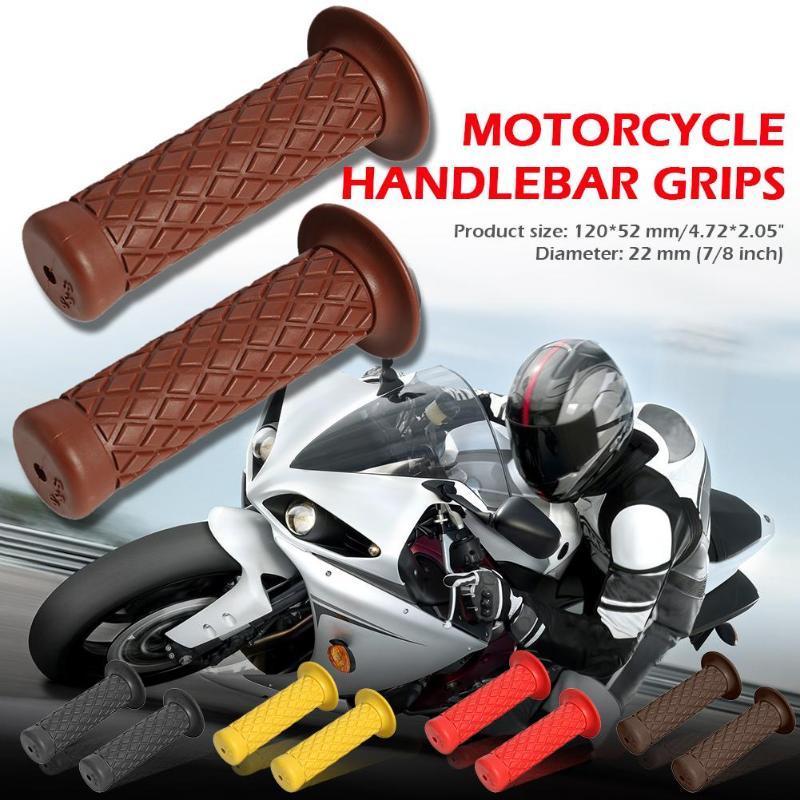 Universal 1 Pair 22mm Motorbike Handle Bar Grips Rubber Motocross Handlebar Grips Black / Yellow/ Red/ Dark Brown/ Coffee