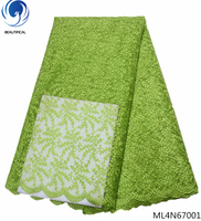 BEAUTIFICAL lemon green lace fabric african lace tulle lace fabric dress fabric online shopping 5 yards per lot for man ML4N670