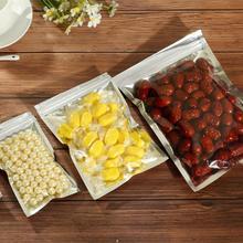100 шт сумка для хранения еды самозапечатывающаяся пищевая упаковка пластиковая сумка покрытая алюминием полупрозрачная Портативная Алюминиевая фольга сумка на молнии