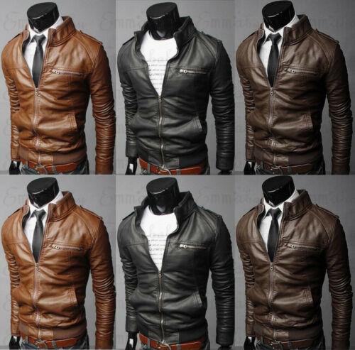 Autumn Winter Men/'s Vintage Motorcycle Stand Collar Cafe Racer Jacket Short Coat