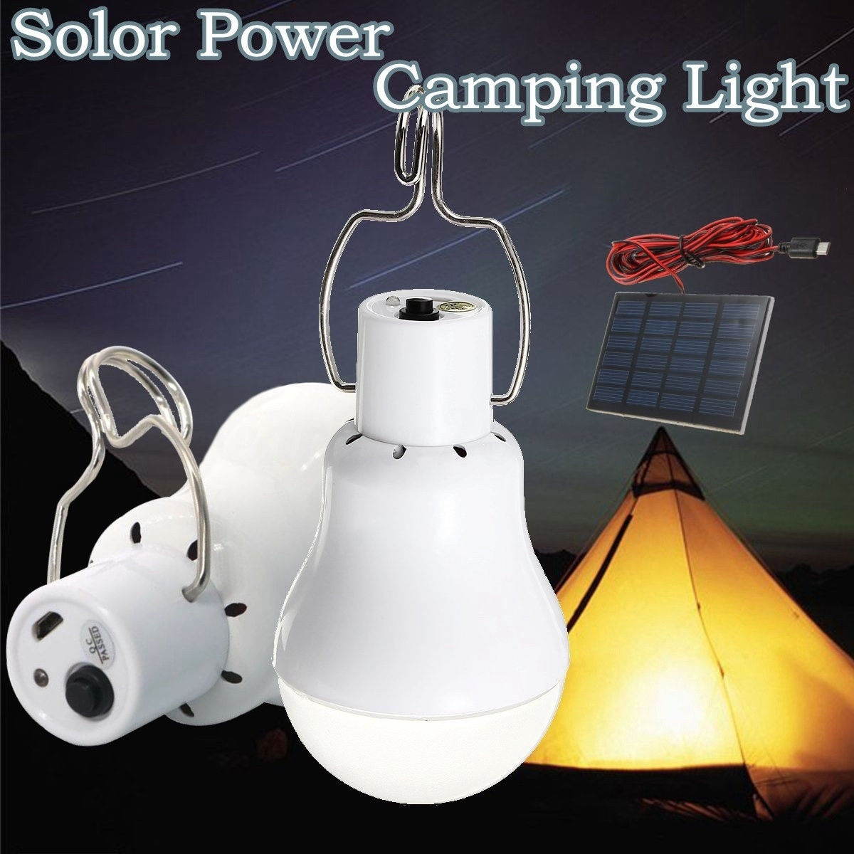 Portable Led Bulb Outdoor Indoor Solar Powered LED Camping Lighting System Solar Panel