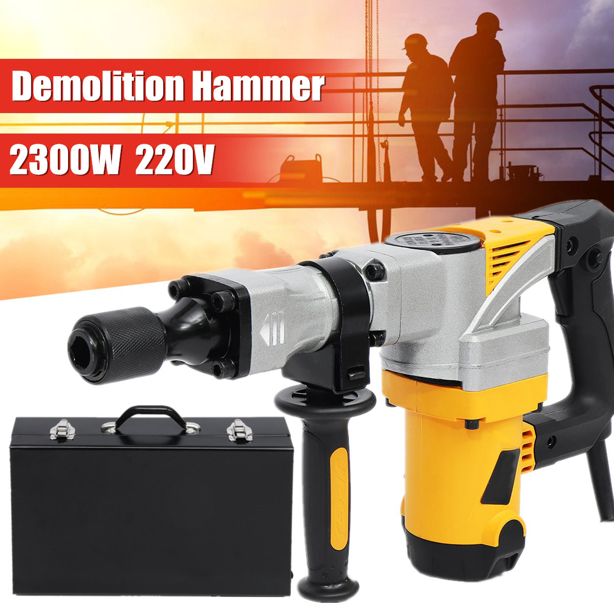 2300W 220V Electric Professional Demolition Hammer Impact Concrete Drill Breaker Slotting Machine Industrial Power Tools Kit