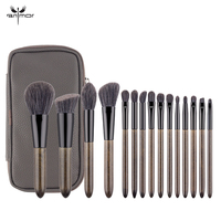 Anmor New Arrival Brushes For Makeup 15 PCS Soft Make Up Brushes High Quality Foundation Eyeshadow Eyebrow Brush With PU Leather