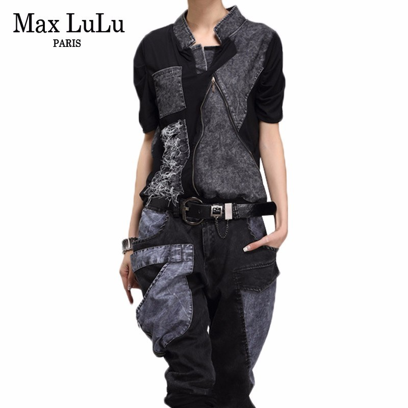 Max LuLu New 2019 Fashion Korean Style Ladies Summer Tops And Pants Womens Denim Two Pieces