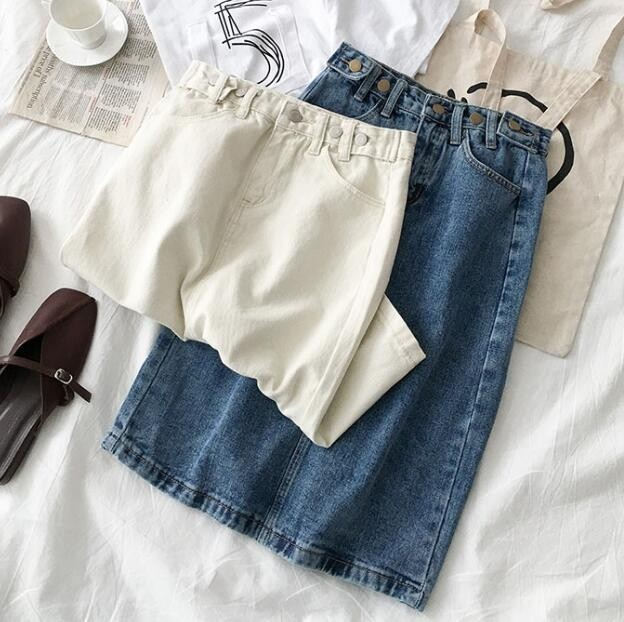 2019 Women High Waist White Denim Skirt Split Jeans Skirt For Women Summer Pencil White Denim Skirts