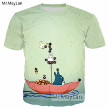 Anime Cute Totoro Hazelnut Boat 3D Print Tshirt Men/women Casual Streetwear T shirt Kawaii Tee T-shirt Boys Modis New Clothing