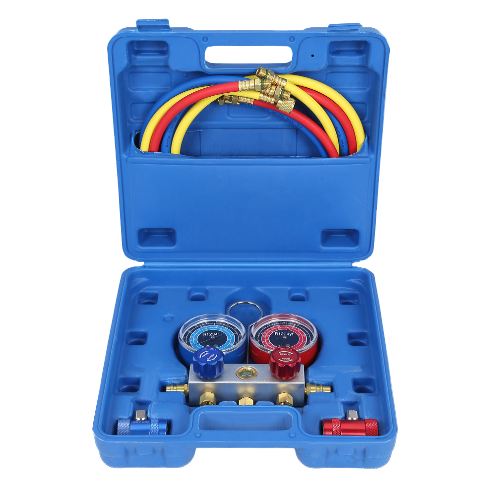 New R1234yf Refrigerant Air Conditioner Manifold Pressure Gauge Set Refrigerator Freon Analysis Measuring Meter With Solid HookNew R1234yf Refrigerant Air Conditioner Manifold Pressure Gauge Set Refrigerator Freon Analysis Measuring Meter With Solid Hook