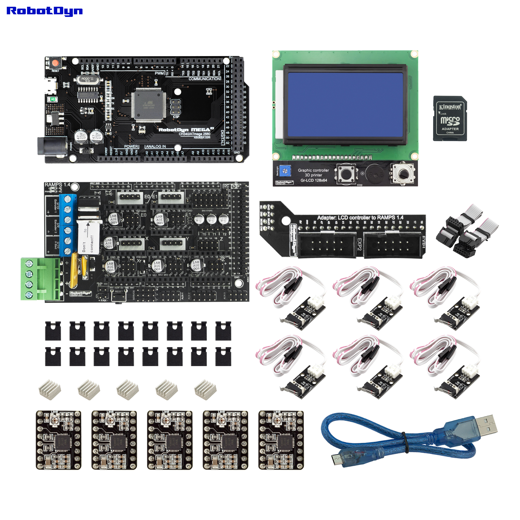 3D Printer & CNC KIT2. MEGA 2560 + RAMPS 1.4 + Graphic 128x64 Controller + Drivers + End-stop, Compatible For Arduino And RepRap