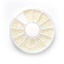 HNUIX 1 компл. белый жемчуг Искусство Ногти камень различные размеры колеса Горный Хрусталь Бусины Украшения Ногтей