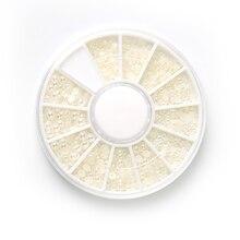 цена на HNUIX 1 set white pearl art nails stone various sizes wheel rhinestone beads nail decoration