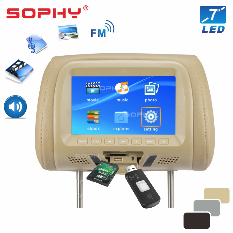 SOPHY 7 Pollici di Schermo A LED Automotive Auto Sedile Posteriore Poggiatesta Monitor Lettore Multimediale AV USB SD MP4 MP5 FM Integrato-in Altoparlanti