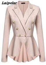 Best selling European and American new women's double row metal buckle long sleeve small blazer Laipelar