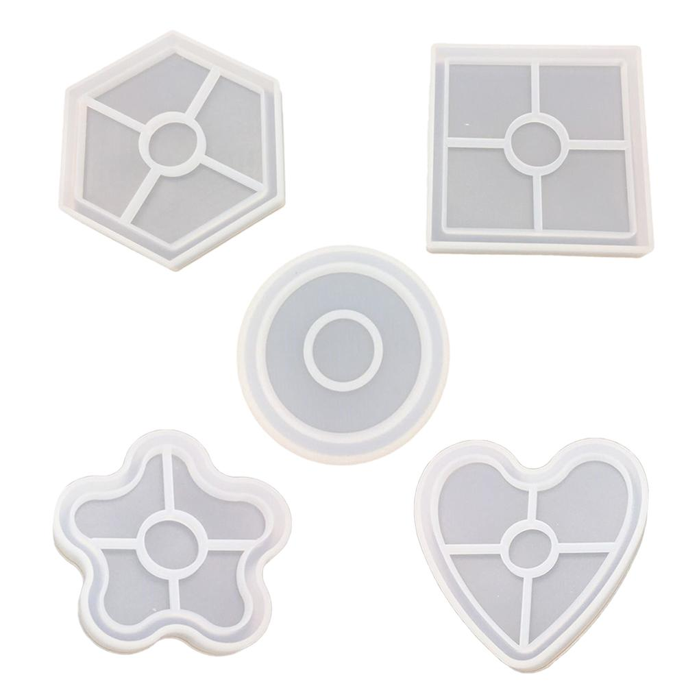 Food Grade Silicone Mold DIY Silicone Mould Crystal Epoxy 5 Six-Sided Square Disk Base Cup Coaster Plum Love Pendant #BO