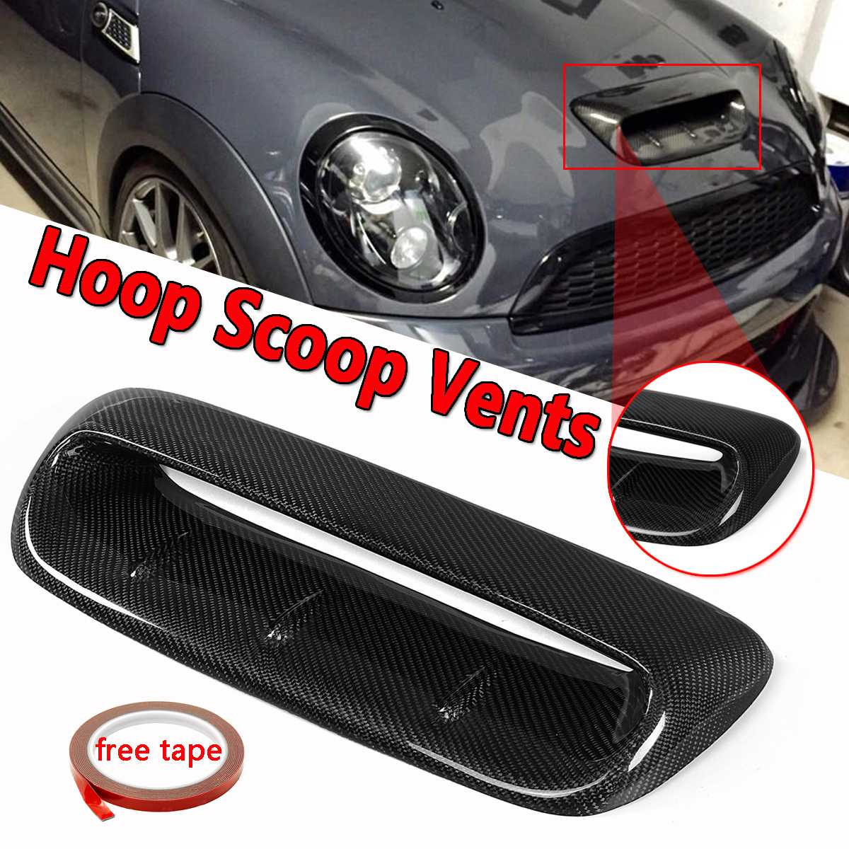 Front Hood Vent For Mini Cooper S R56 2007 2014 VTX Style Real Carbon Fiber Flow Intake Hood Scoop Vent Bonnet Decorative Cover