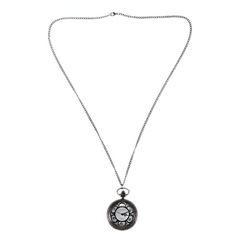 Petal Hollow Large Black Petal White Pocket Watch Bronze Quartz Men'S And Women'S Retro Pocket Watch