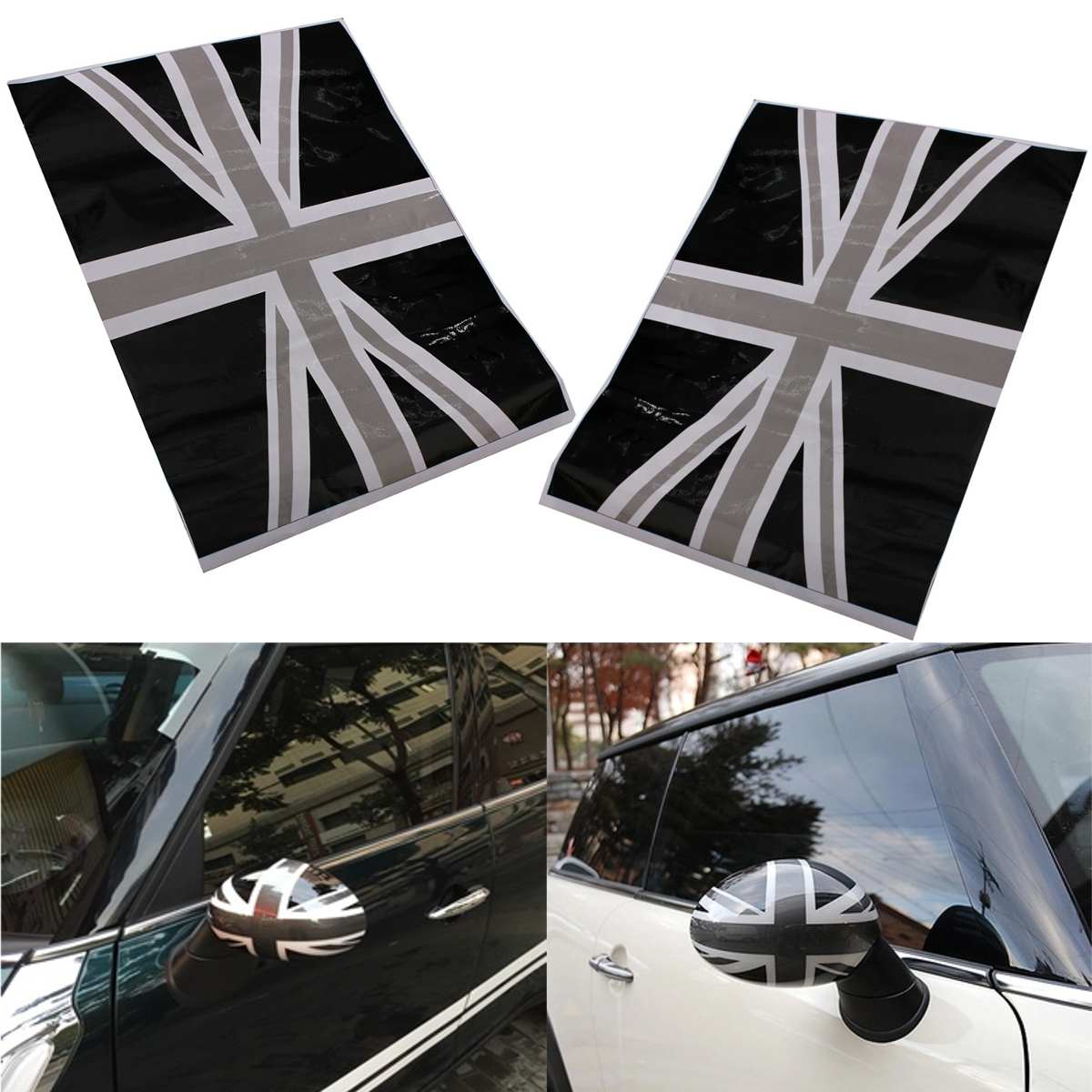 2x Union Jack Flag Vinyl Stickers Wing Side Mirrors Cover Black For Mini Cooper