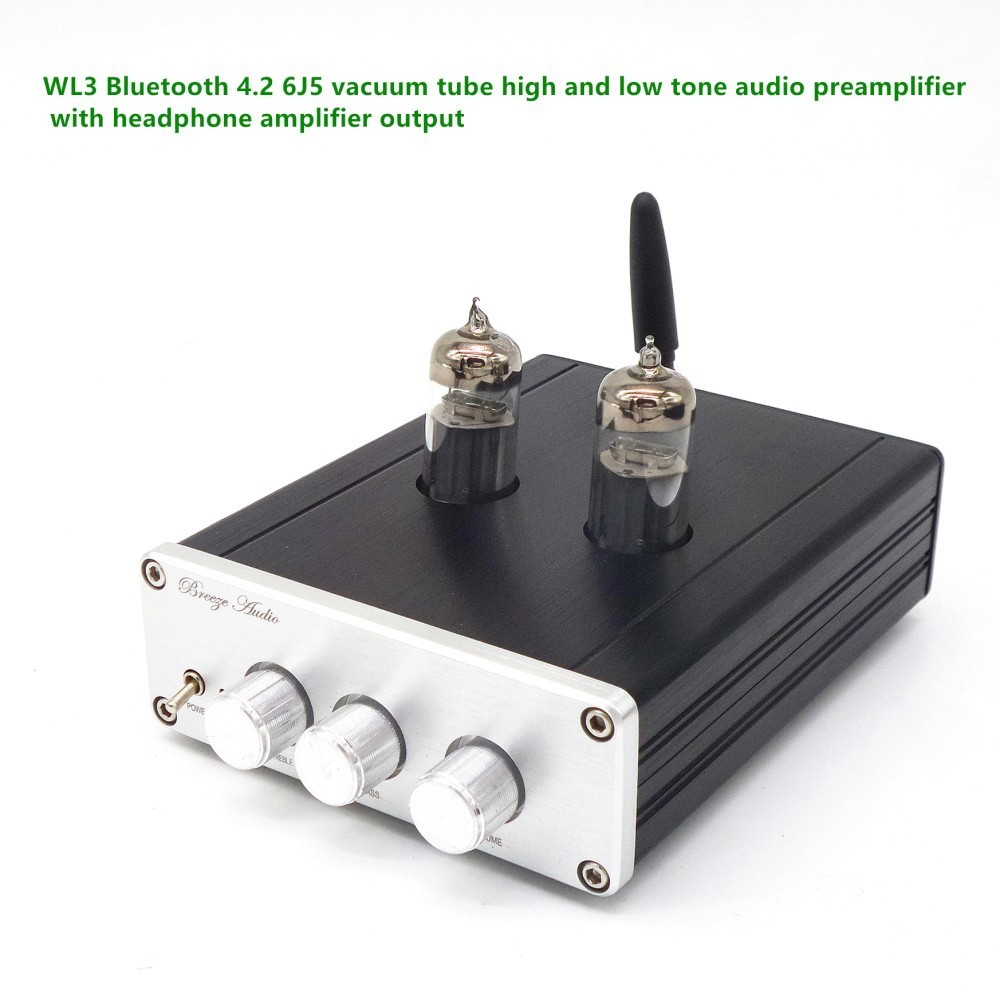 2018 Latest TIANCOOLKEI M7 Bluetooth 4.2 HiFi Vacuum 6J5 Tube Amplifier Stereo Tube Preamplifier With Treble Bass Tone Control