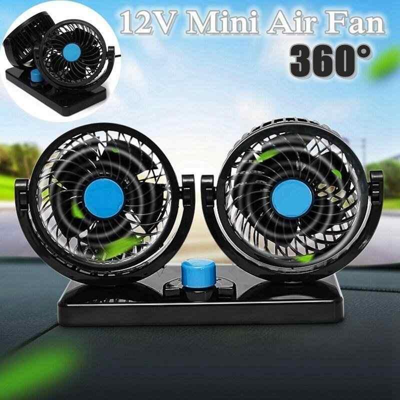 1 pc 12/24 V Mini Elektrische Auto Lüfter 360 Grad Rotierenden Dual Kopf Auto Auto Kühlung Luft fan Speed Geräuscharm (Gelegentliche Farbe)