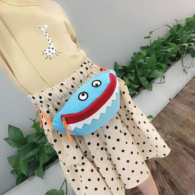 Cute Small Cartoon Kids Fanny Shark Chest Canvas Waist Packs Bag Boys Girls Money Bag Messenger Bags Girls Handbags