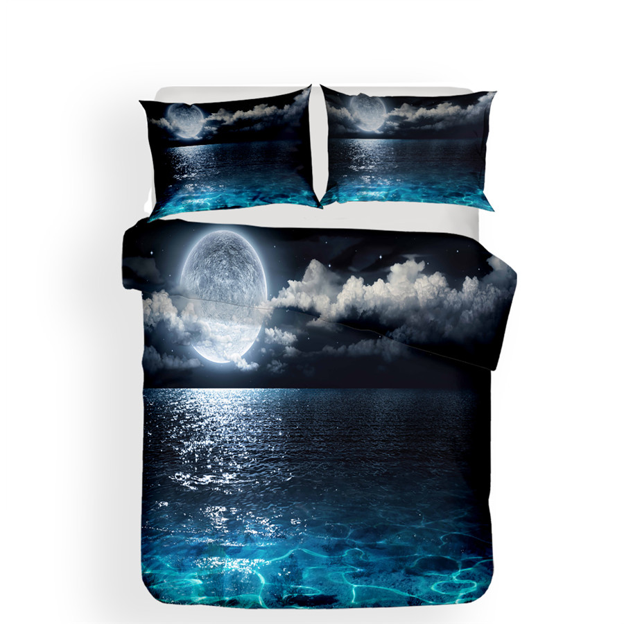 Image 2 - Bedding Set 3D Printed Duvet Cover Bed Set Sea Wave Home Textiles for Adults Lifelike Bedclothes with Pillowcase #HL06-in Bedding Sets from Home & Garden