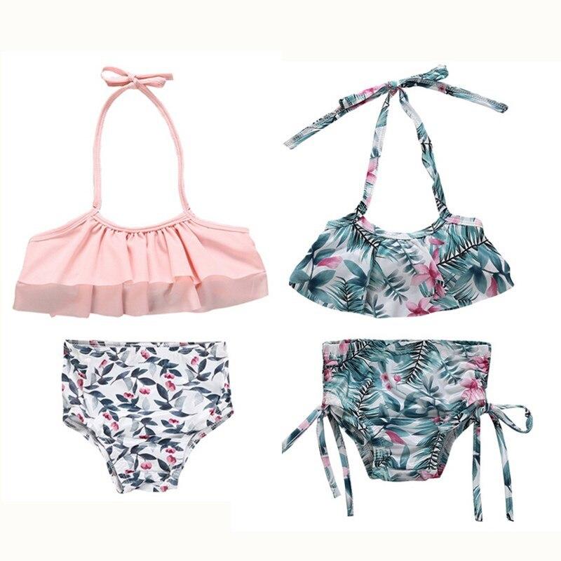 ccaa97d35e Toddler Kids Girls Summer Swimsuit Baby Girls Floral Printed Bikini Set  High Waist Swimwear Bathing Suit New Beachwear Biquini