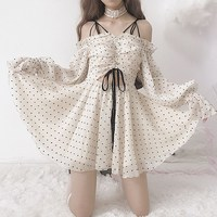 2019 Summer Women Lolita Polka Dot Mini Dress Spaghetti Straps Flare Sleeve Chiffon Dress Lolita Style Ruffles A Line Dress