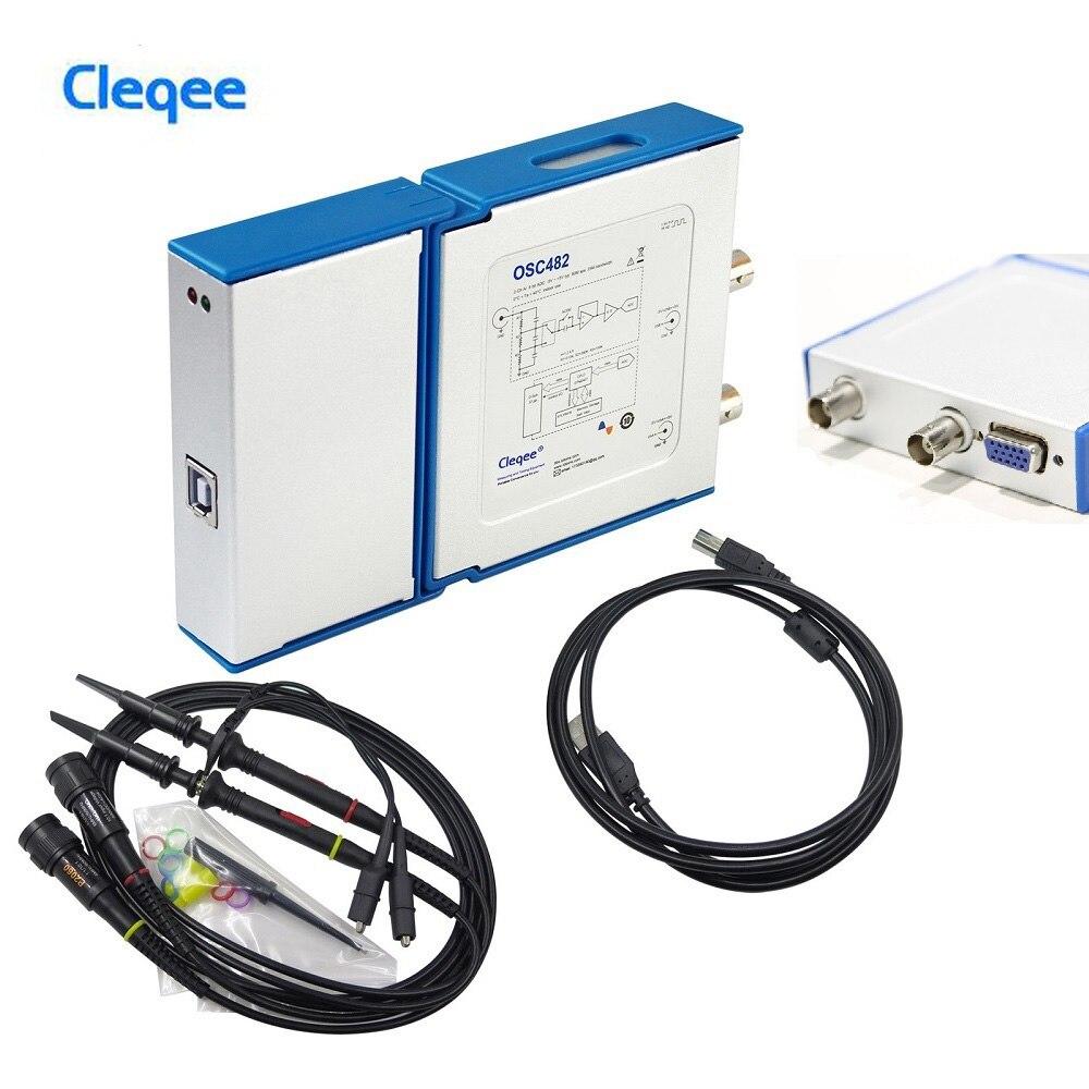 Cleqee Dual Channel Osciloscópio Virtual PC Osciloscópio OSC482 50 M Amostragem 20 M Banda PK 1008C 6022BL