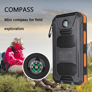 Image 3 - 20000mAh Waterproof Portable Solar Power Bank Cell Phone Solar Charger Dual USB Charging Ports LED Light Carabiner Compasses