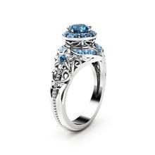 14K Gold Diamond Sapphire Ring for women Anillos Wedding Bizuteria Gemstone Jewelry Ring Blue Topaz Gemstone women gold rings chic floral faux sapphire ring for women