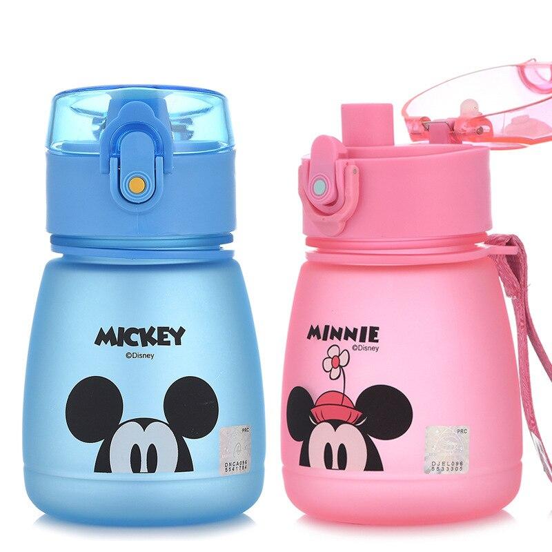 Disney Baby Minnie Mickey Plastic Feeding Cup Cartoon Sports Water Bottle Learn Drinking Straw Cup As A Gift School Bottle 300ML