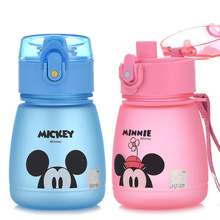 Disney Baby Minnie Mickey Plastic Feeding Cup Cartoon Sports Water Bottle Learn Drinking Straw As A Gift School 300ML
