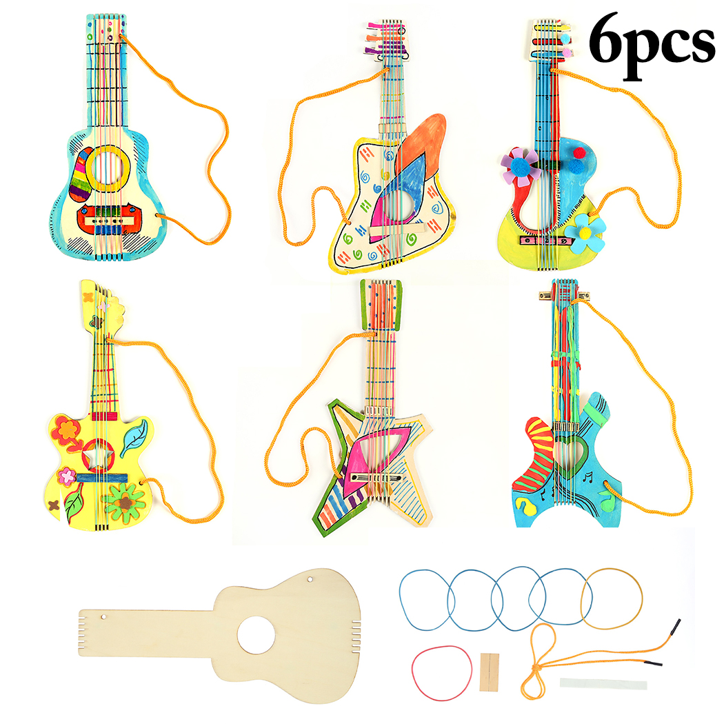 6 Sets DIY Craft Kit Wood Guitar Musical Instrument Toy Handmade Craft Kit