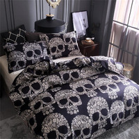 Bedding sets,Digital Printing Day of the Dead Sugar Skull with Floral 3Piece Duvet Cover Sets,Black Gray cotton Bedding28