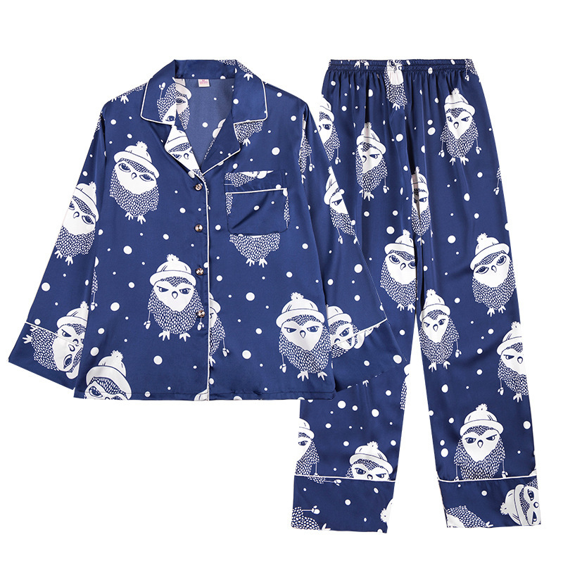 pyjama homme Silk-like Men's Long-Sleeve Pants Pajama Set pyjamas men sleep & lounge