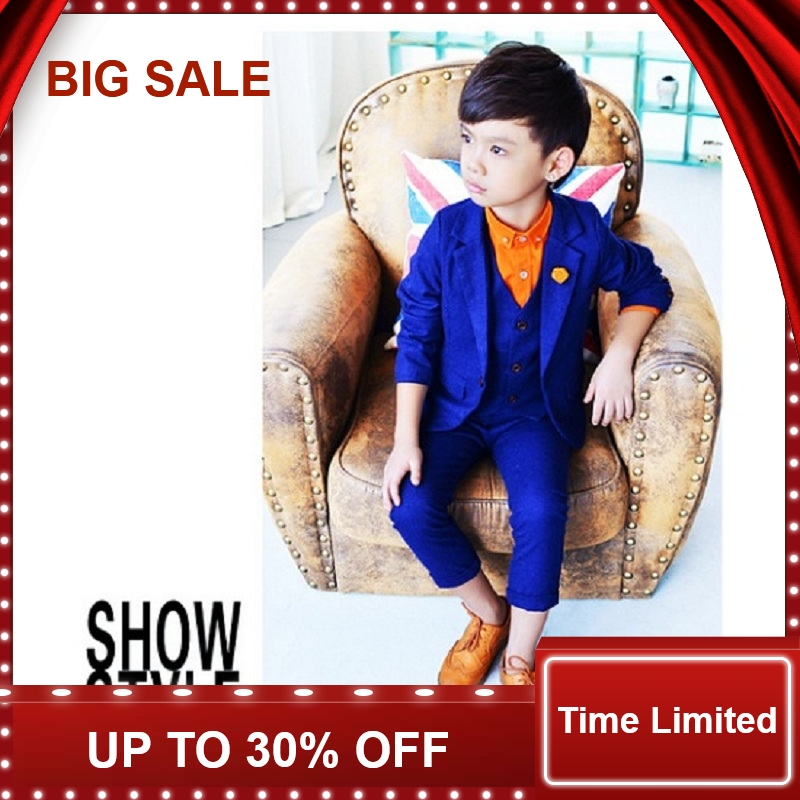 Kids 3PCS Vest+Pant+Blazer Solid Suit for Boys Formal Party Dress Suit with Flower Boys Wedding SuitKids 3PCS Vest+Pant+Blazer Solid Suit for Boys Formal Party Dress Suit with Flower Boys Wedding Suit